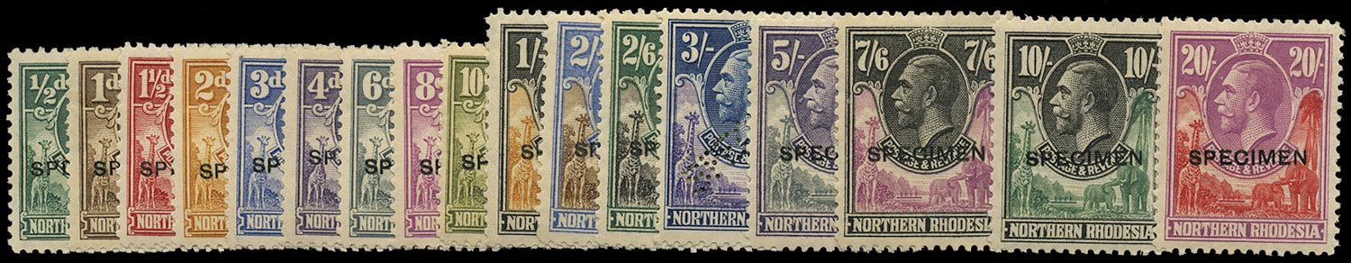 NORTHERN RHODESIA 1925  SG1s/17s Specimen KGV set of 17 to 20s