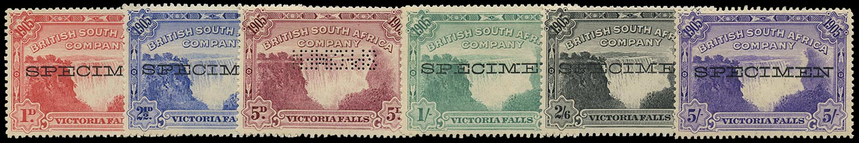 RHODESIA 1905  SG94s/99s Specimen Victoria Falls set of 6 to 5s