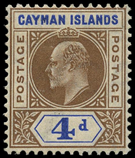 CAYMAN ISLANDS 1907  SG13 var Mint KEVII 4d brown and blue variety slotted frame