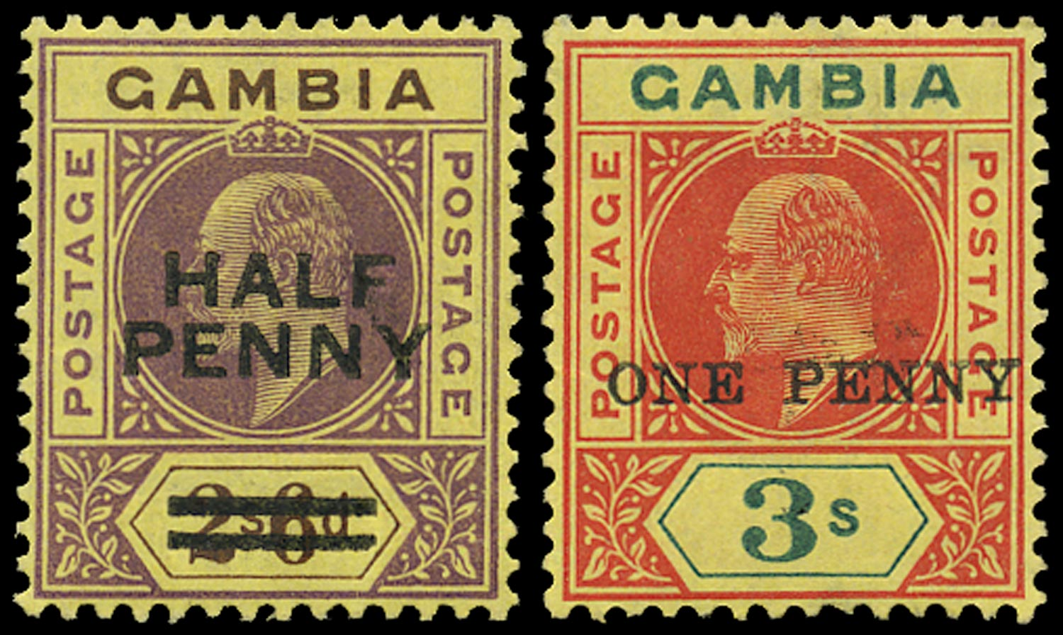 GAMBIA 1906  SG69/70 Mint unmounted ½d on 2s6d and 1d on 3s