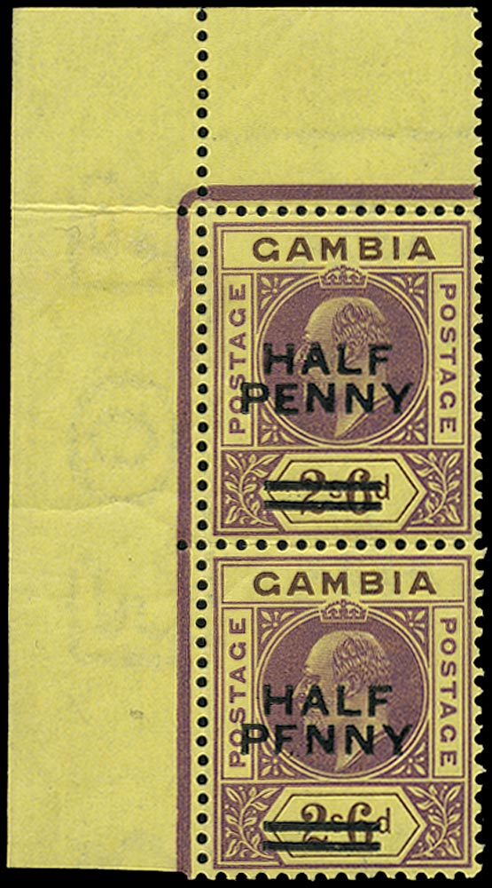 GAMBIA 1906  SG69 var Mint unmounted ½d on 2s6d variety Broken E