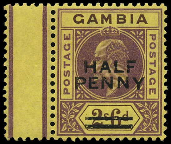 GAMBIA 1906  SG69 var Mint unmounted ½d on 2s6d variety dropped Y