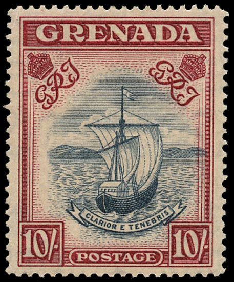 GRENADA 1943  SG163b Mint unmounted 10s slate-blue and bright carmine perf 14