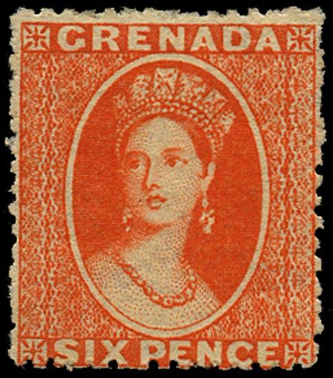 GRENADA 1878  SG17 Mint 6d deep vermilion watermark Small Star sideways