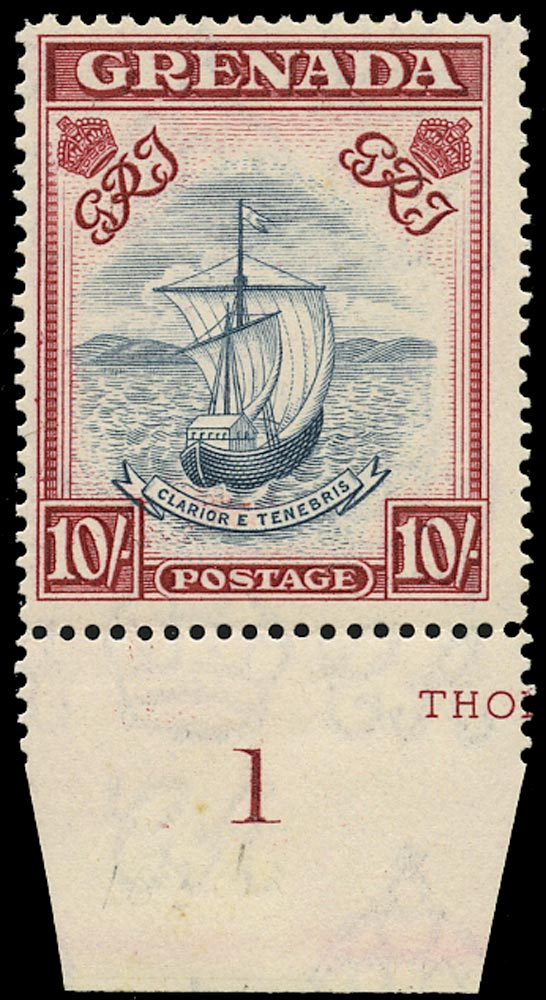 GRENADA 1943  SG163d Mint unmounted 10s slate-blue and carmine-lake perf 14