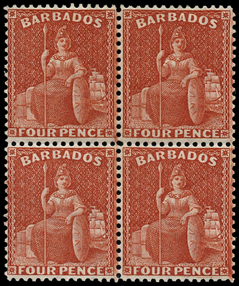 BARBADOS 1875  SG76 Mint 4d red Britannia watermark Crown CC perf 14