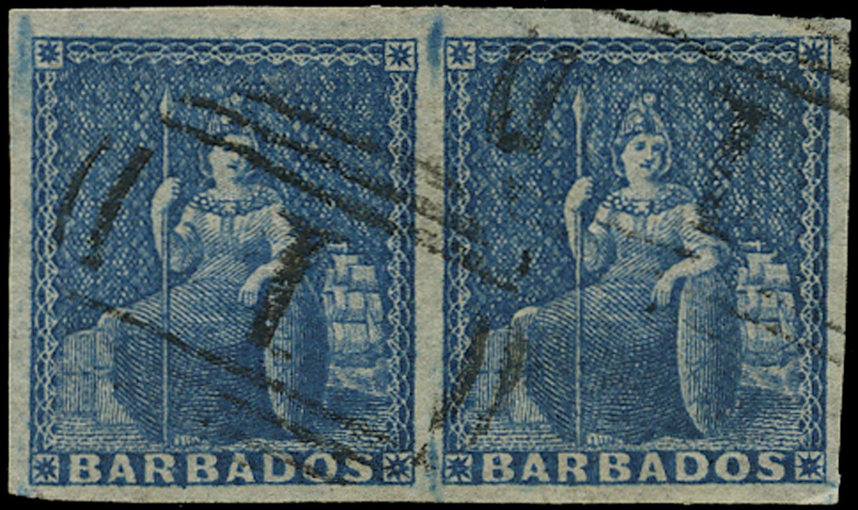 BARBADOS 1855  SG10 Used (1d) deep blue Britannia on white paper