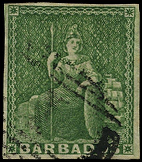 BARBADOS 1855  SG7 Used (½d) yellow-green Britannia on white paper