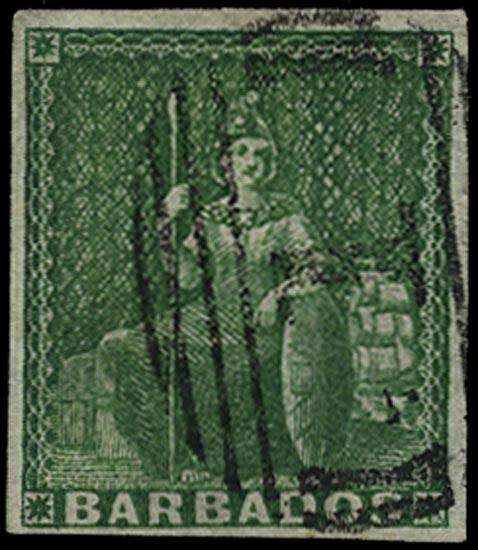 BARBADOS 1855  SG8 Used (½d) green Britannia on white paper