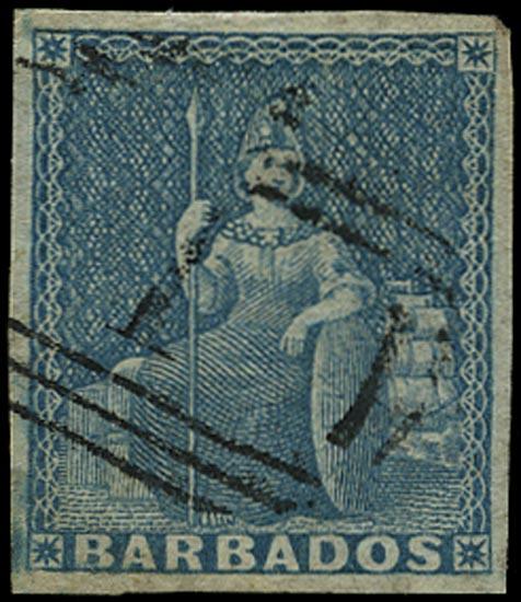 BARBADOS 1855  SG9 Used (1d) pale blue Britannia on white paper