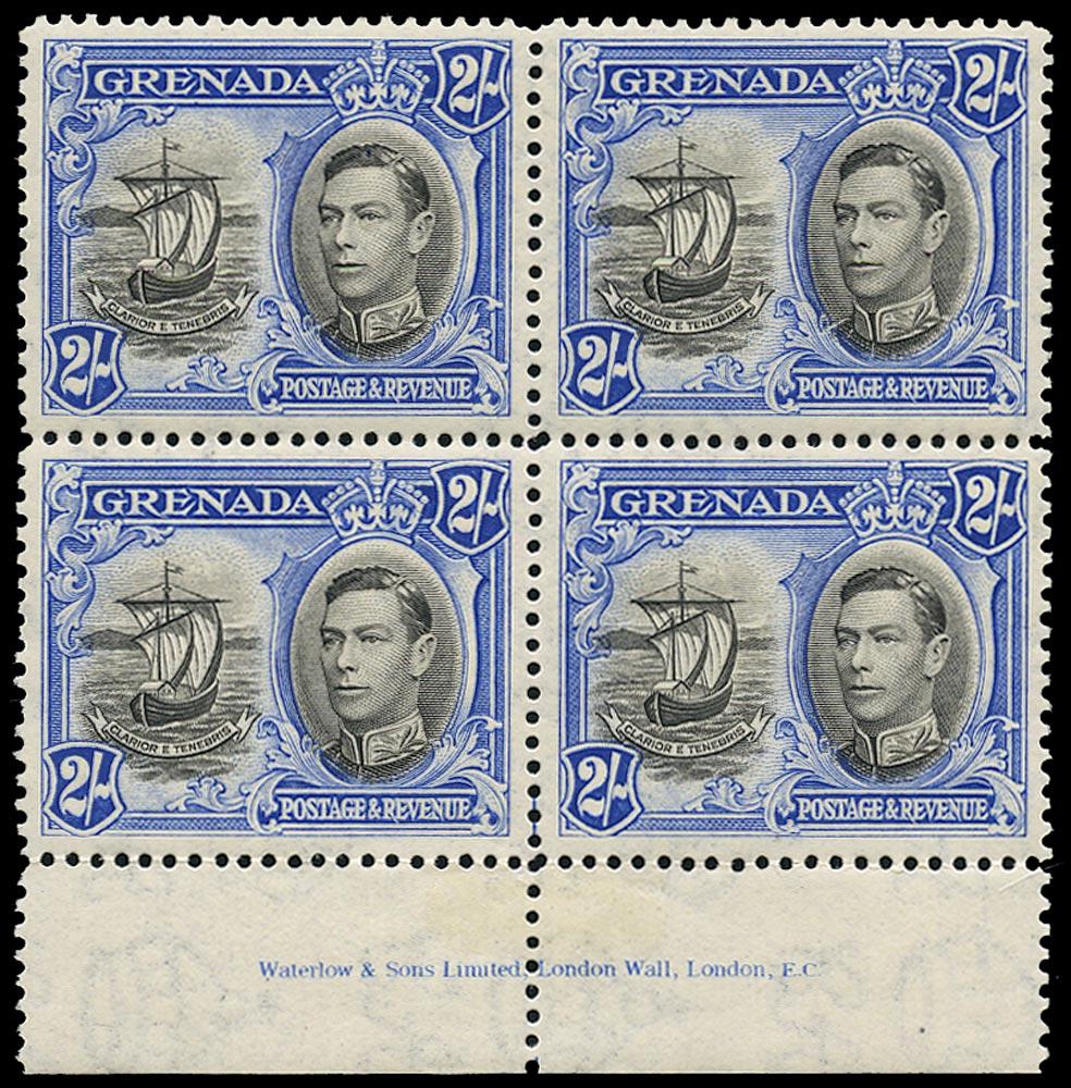 GRENADA 1938  SG161 Mint unmounted 2s black and ultramarine perf 12½ imprint block