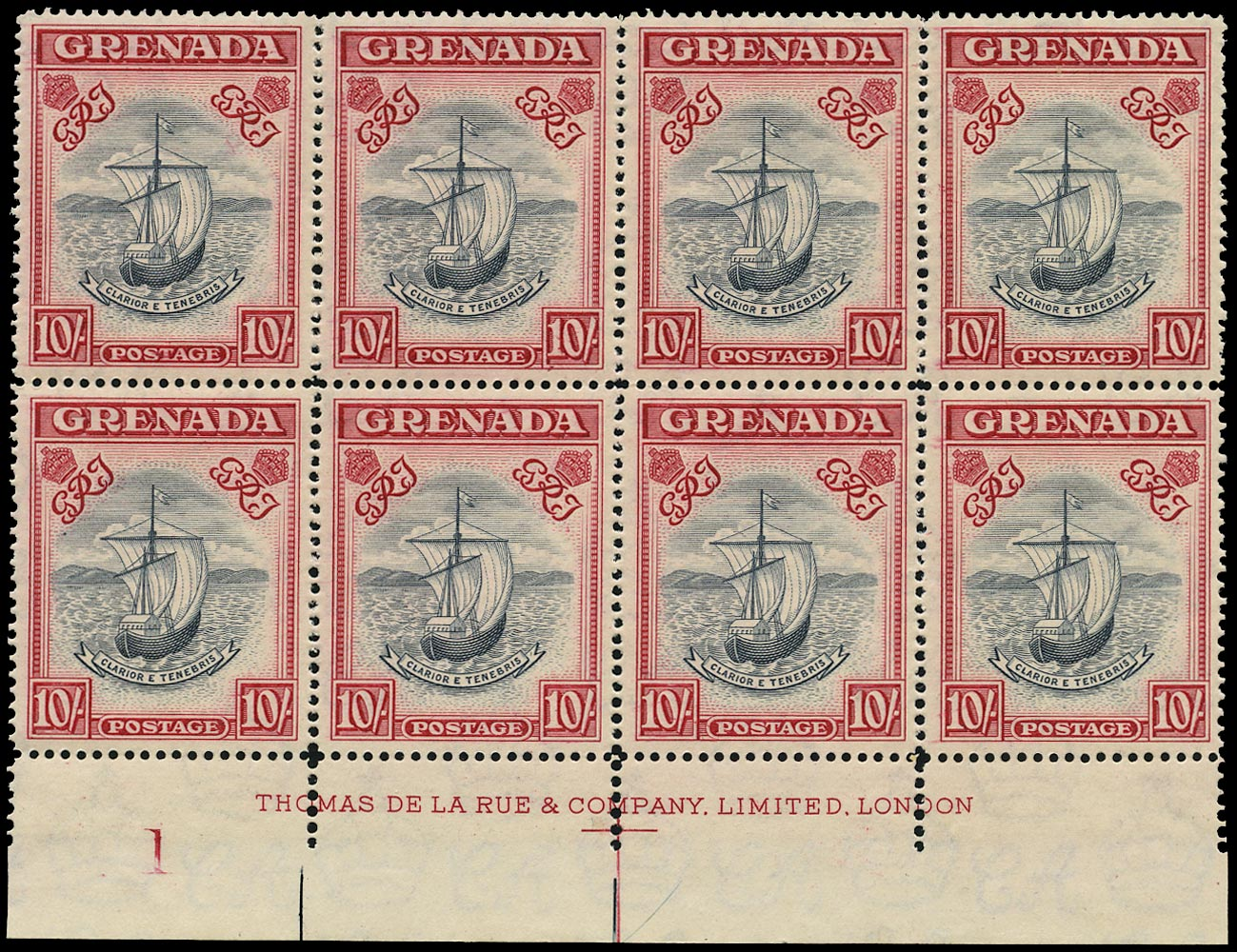 GRENADA 1938  SG163e Mint unmounted 10s blue-black and carmine perf 14 imprint and plate block