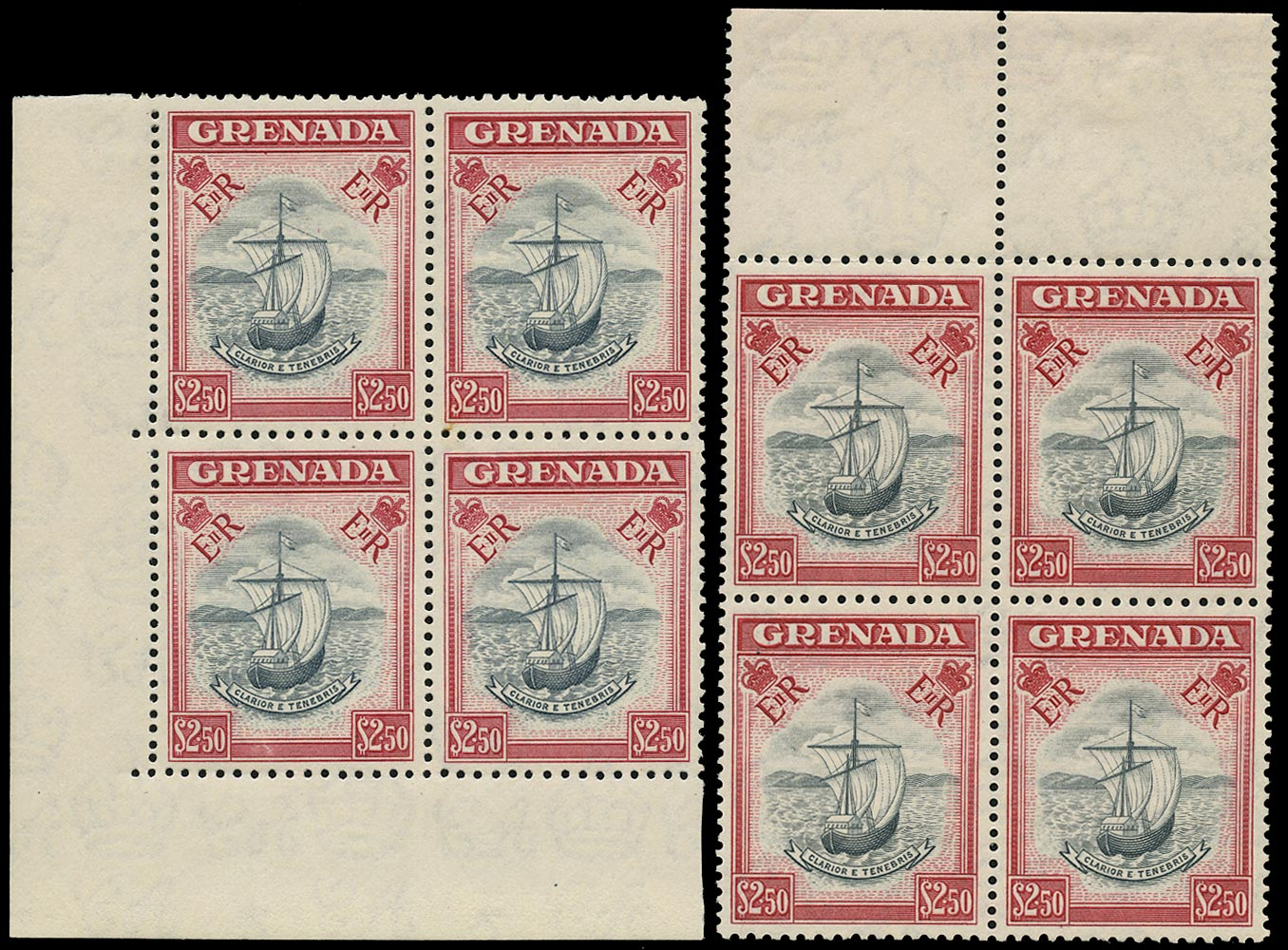 GRENADA 1953  SG204 Mint $2.50 slate-blue and carmine two blocks in contrasting shades