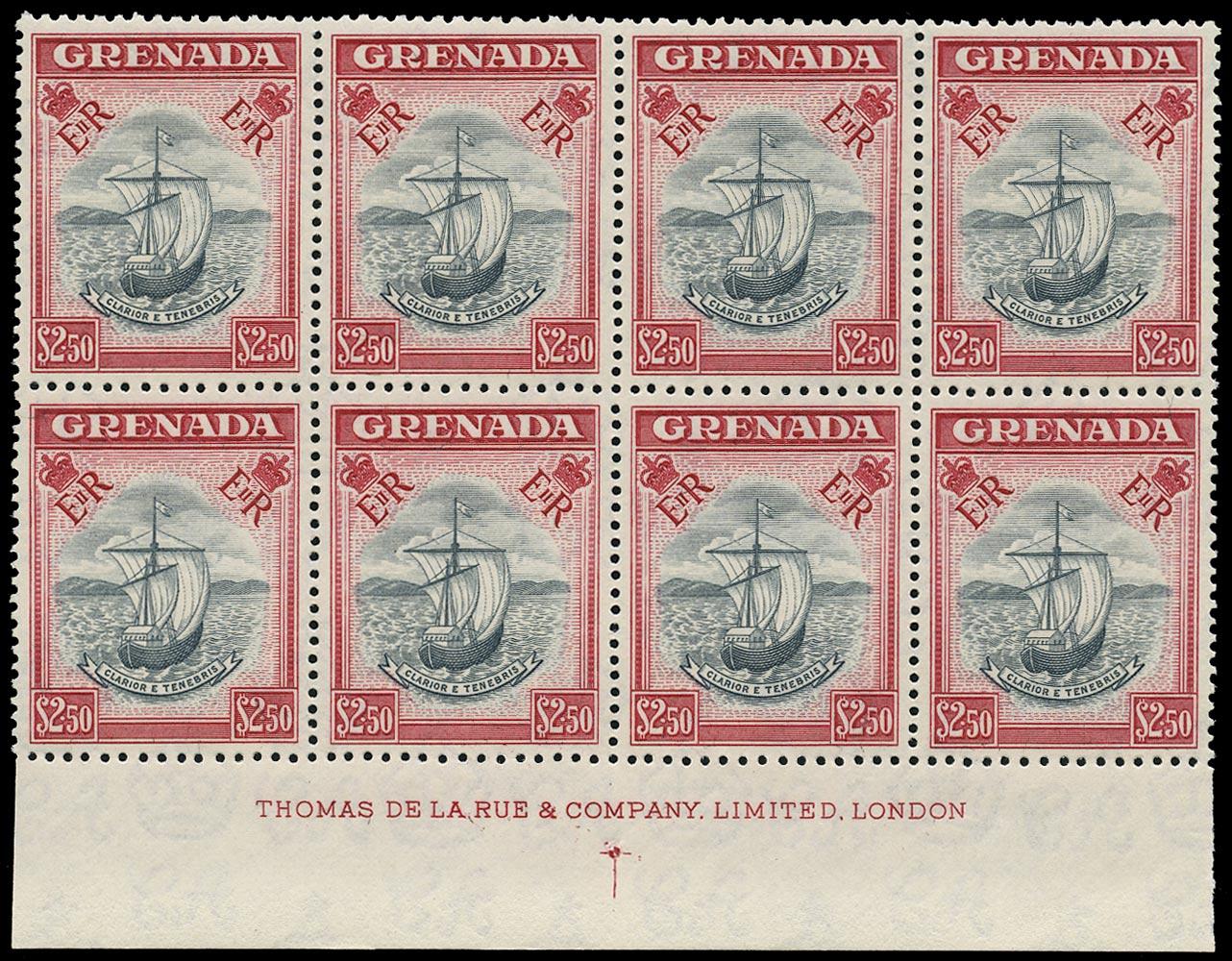GRENADA 1953  SG204 Mint unmounted QEII $2.50 slate-blue and carmine imprint block of 8