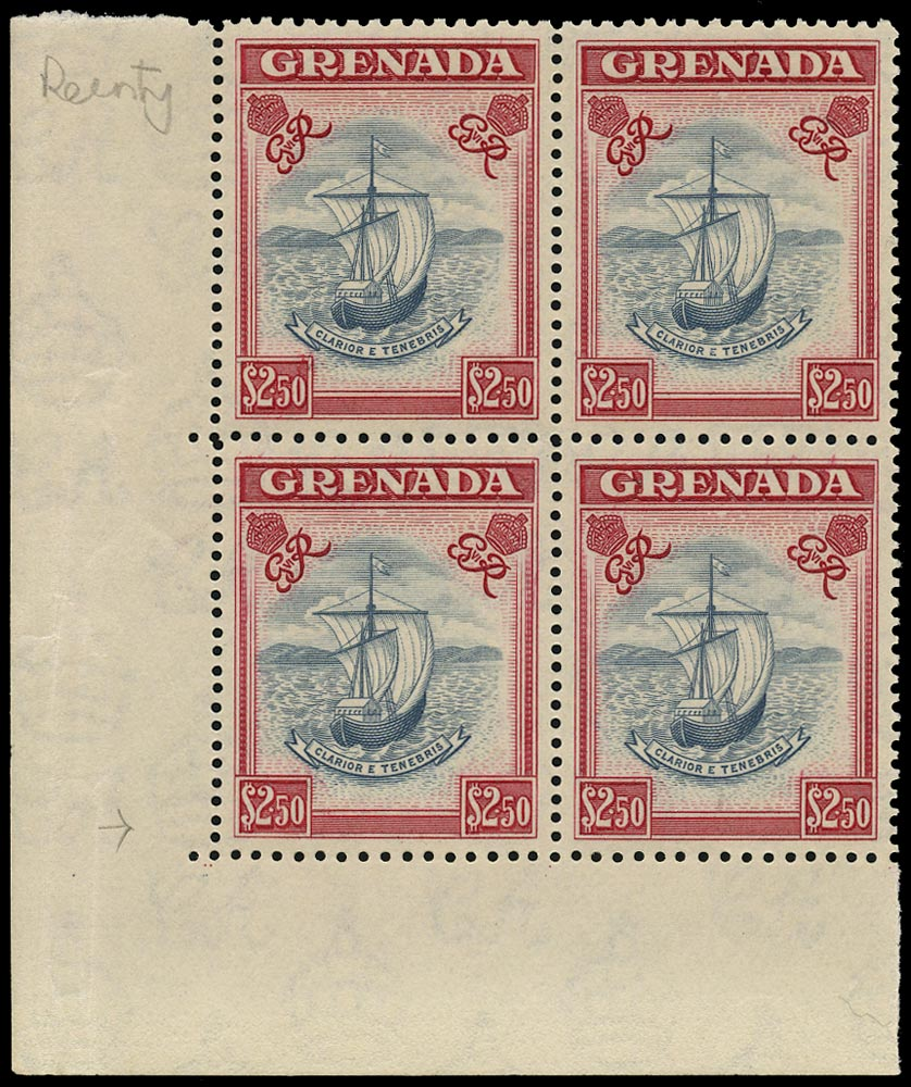 GRENADA 1951  SG184 var Mint unmounted $2.50 slate-blue and carmine with R5/1 re-entry