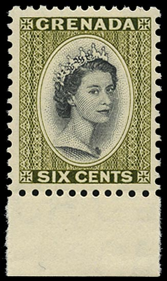 GRENADA 1966  SG218 Mint unmounted QEII 6c black and olive-green watermark Block CA