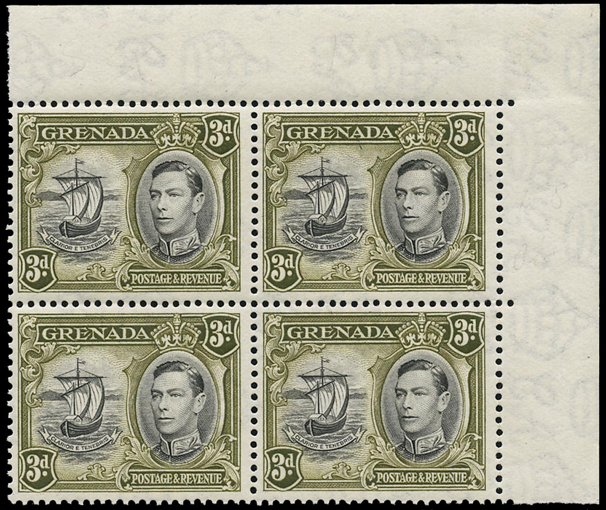 GRENADA 1942  SG158ad Mint unmounted KGVI 3d black and brown-olive variety Extra window and broken handrail