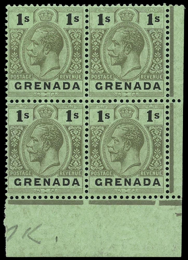 GRENADA 1913  SG98dw Mint unmounted KGV 1s watermark MCA variety watermark inverted