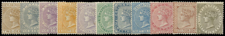 CEYLON 1872  SG121/32 Mint set of 11 to 96c watermark CC