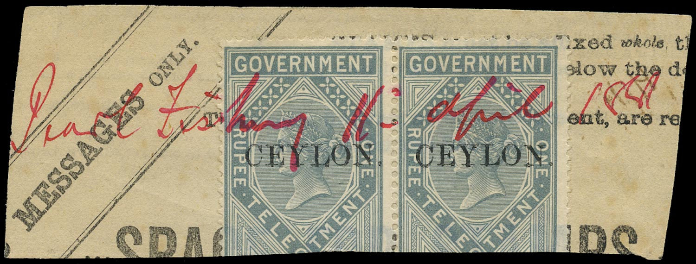 CEYLON 1881  SGT4 Telegraph