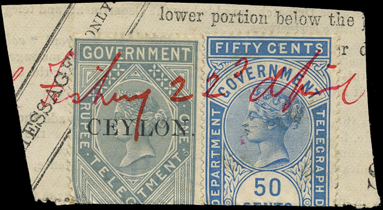 CEYLON 1881  SGT4, 13 Telegraph