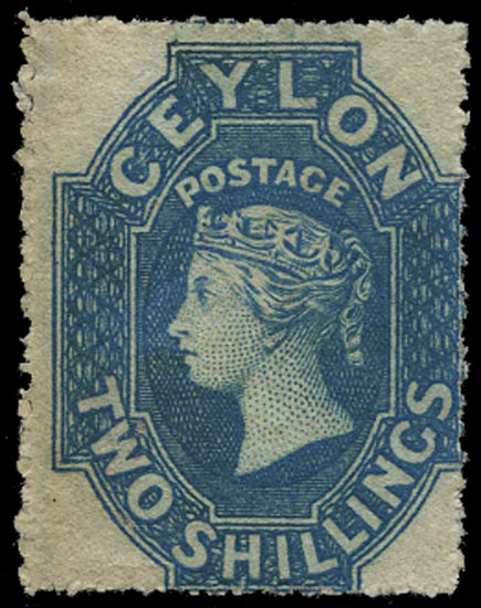 CEYLON 1861  SG37 Mint 2s dull blue watermark large star rough perf