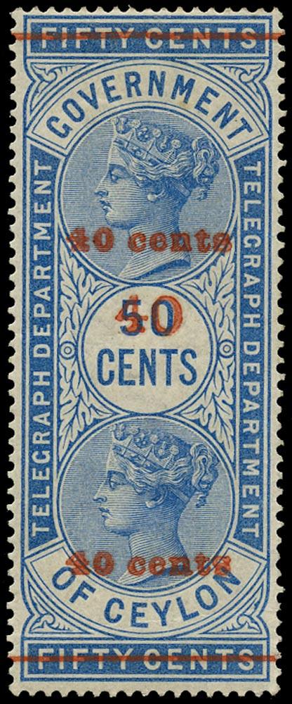 CEYLON 1882  SGT53a Telegraph