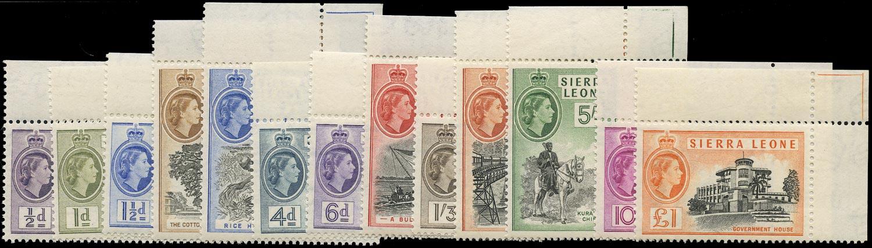 SIERRA LEONE 1956  SG210/22 Mint unmounted QEII set of 13 to £1