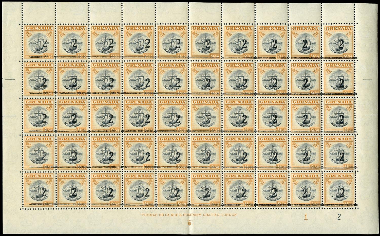 GRENADA 1965  SG203 var Revenue '2' on $1.50 black and orange unmounted mint