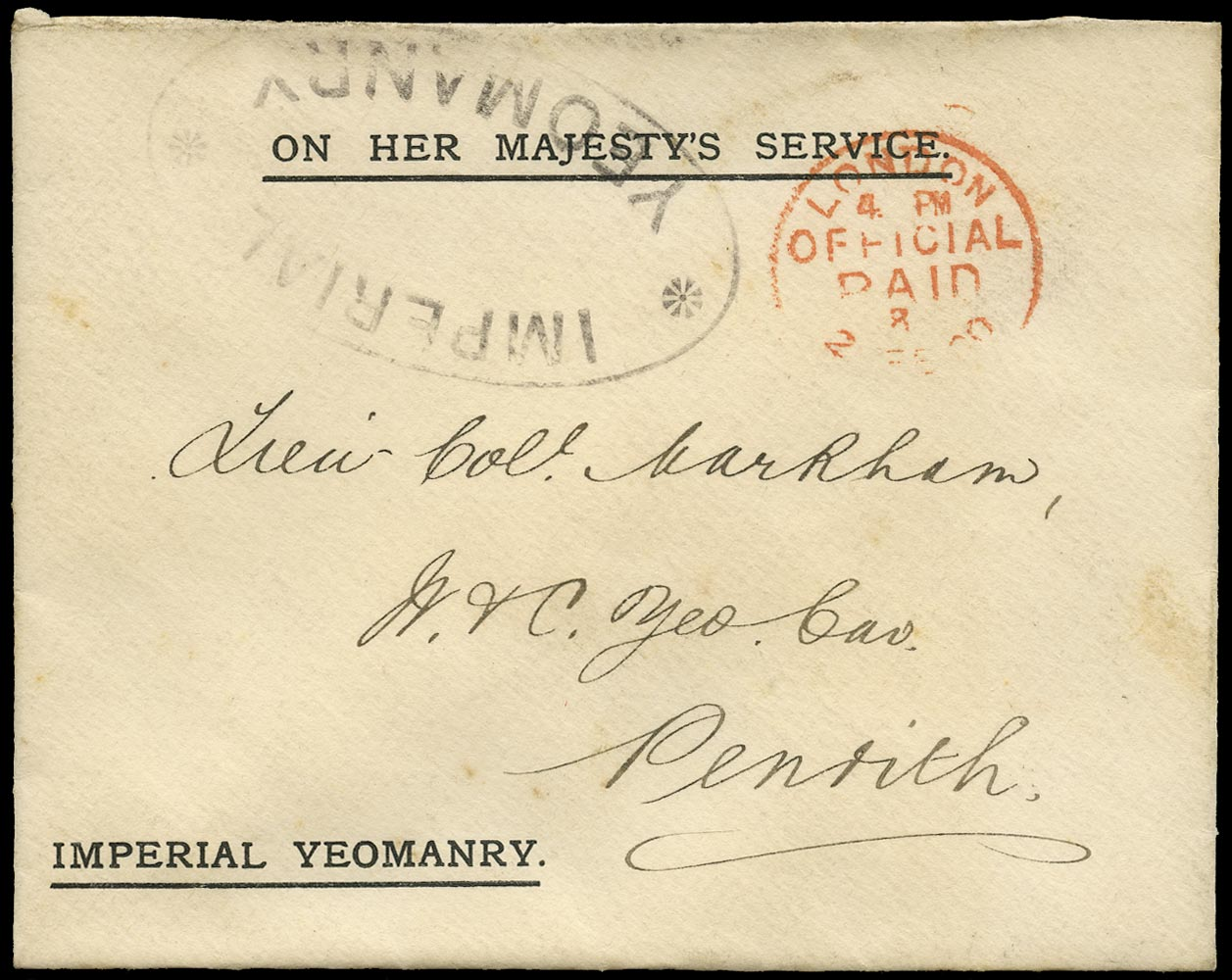 GB 1900 Cover '*IMPERIAL/YEOMANRY*' handstamp OHMS envelope