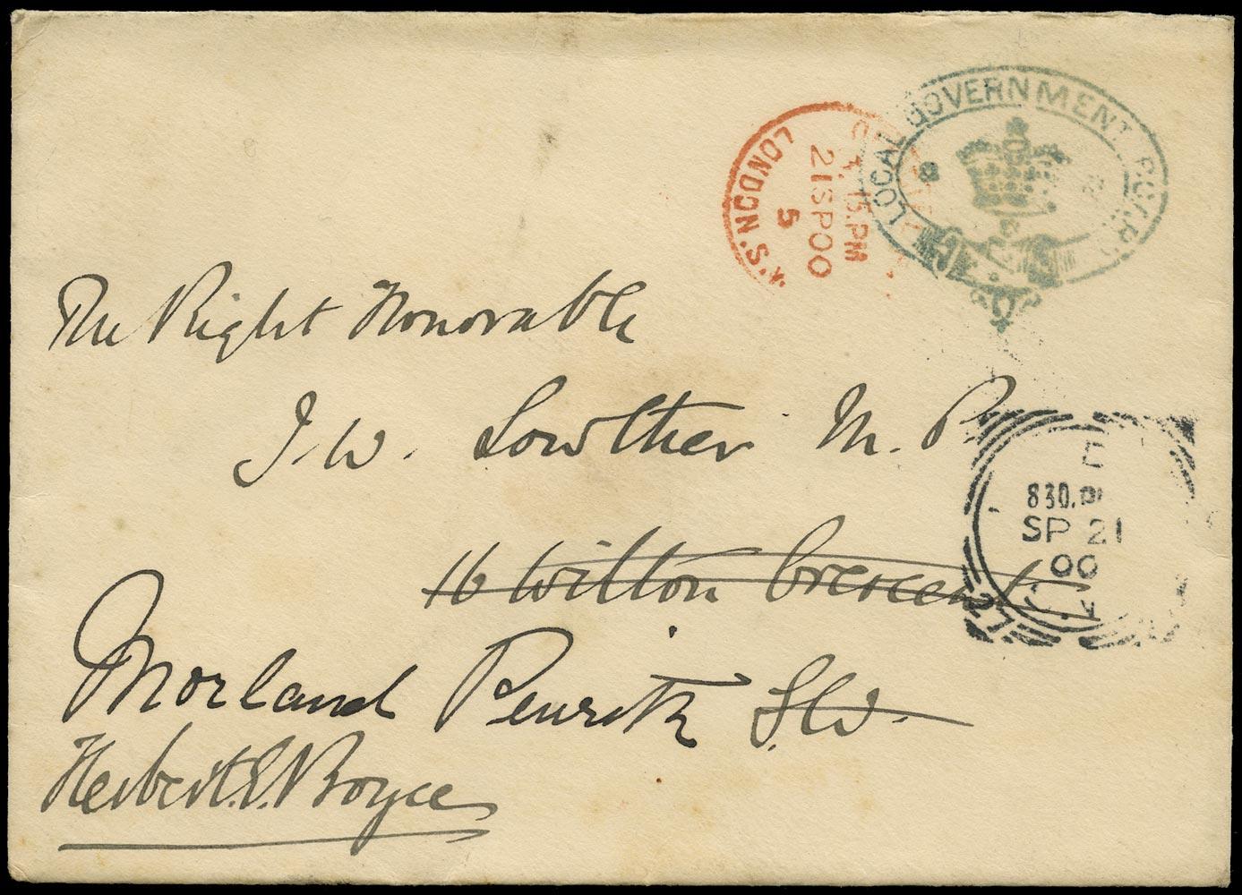 GB 1900 Cover - Local Government Board envelope