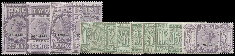 GB 1881 Revenue 1881 Judicature Fees set opt CANCELLED
