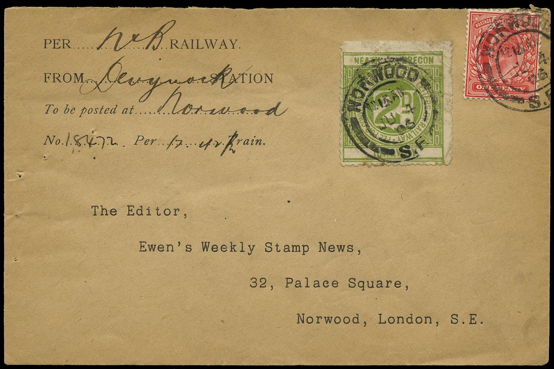 GB 1905 Railway - 2d green Neath & Brecon railway letter stamp