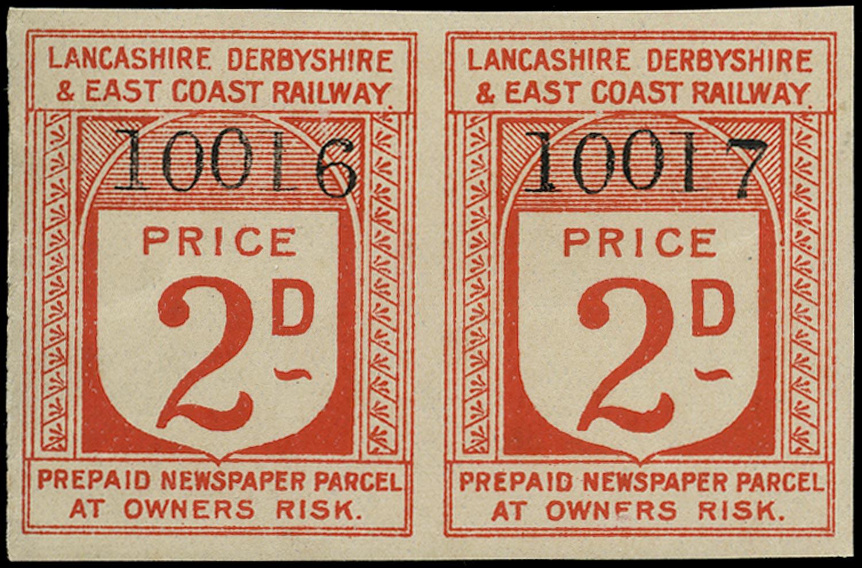 GB 1900 Railway - 2d Lancashire, Derbyshire & East Coast Railway Newspaper Parcel labels