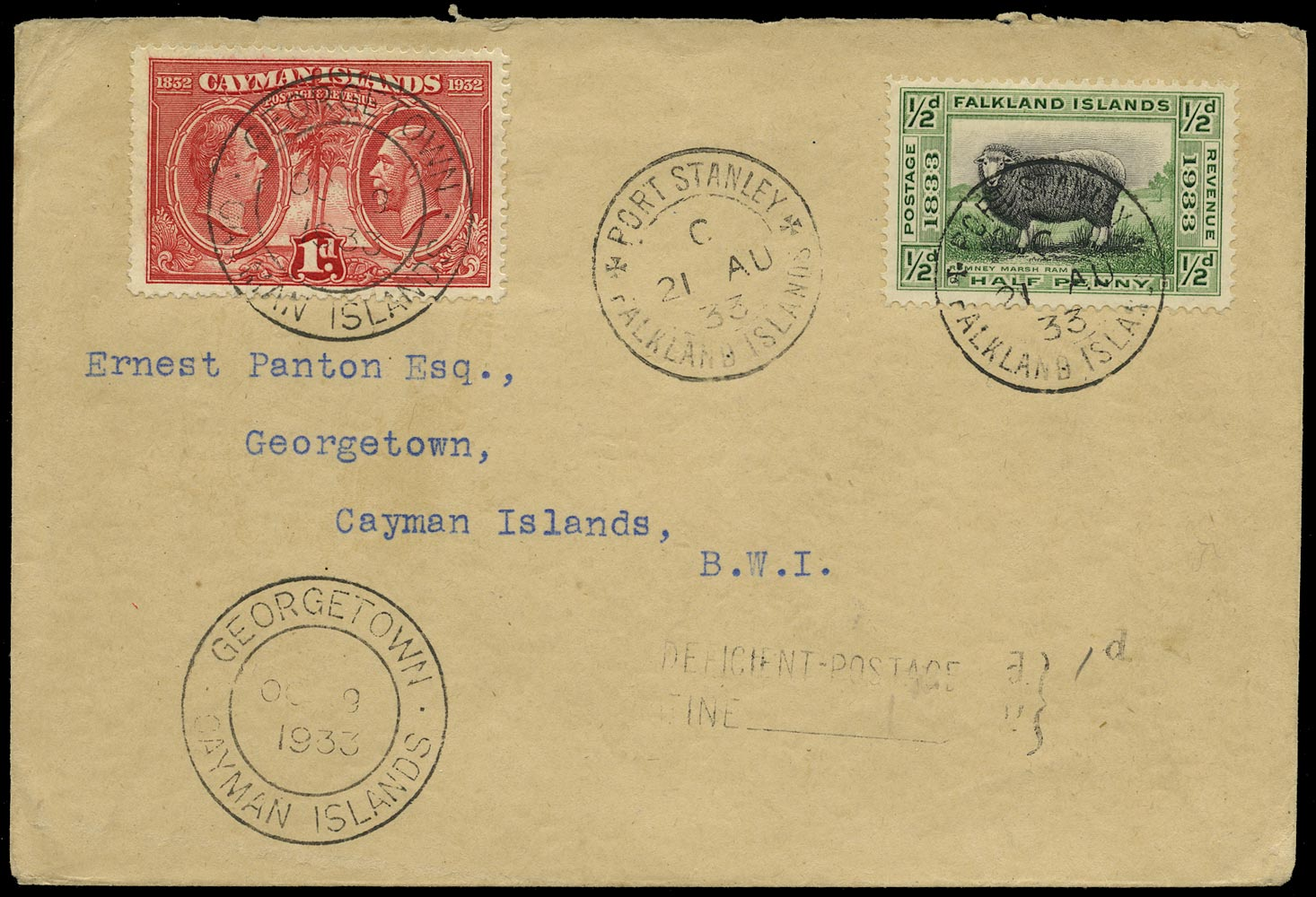 FALKLAND ISLANDS 1933  SG127 Cover underfranked to Cayman Islands