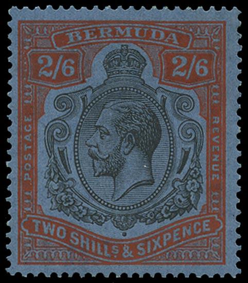 BERMUDA 1924  SG89h Mint 2s6d grey-black and pale orange-vermilion on grey-blue paper Script watermark