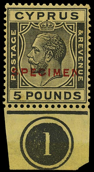 CYPRUS 1924  SG117as Specimen KGV £5 black on yellow paper with plate number