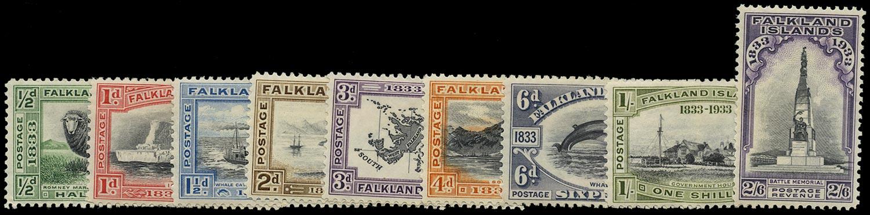 FALKLAND ISLANDS 1933  SG127/35 Mint Centenary short set of 9 to 2s6d