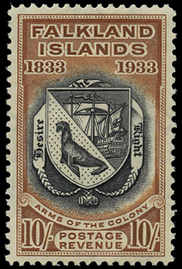 FALKLAND ISLANDS 1933  SG137 Mint Centenary 10s black and chestnut Coat of Arms