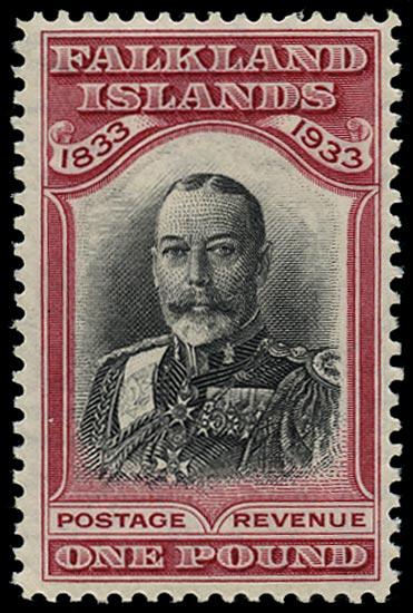 FALKLAND ISLANDS 1933  SG138 Mint Centenary £1 black and carmine King George V
