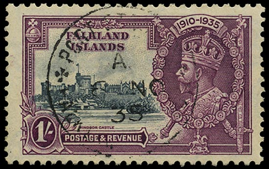 FALKLAND ISLANDS 1935  SG142a Used Silver Jubilee 1s slate and purple variety Extra flagstaff
