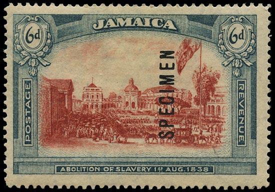 JAMAICA 1921  SG90s Specimen unissued 6d Abolition of Slavery watermark Multiple Crown CA