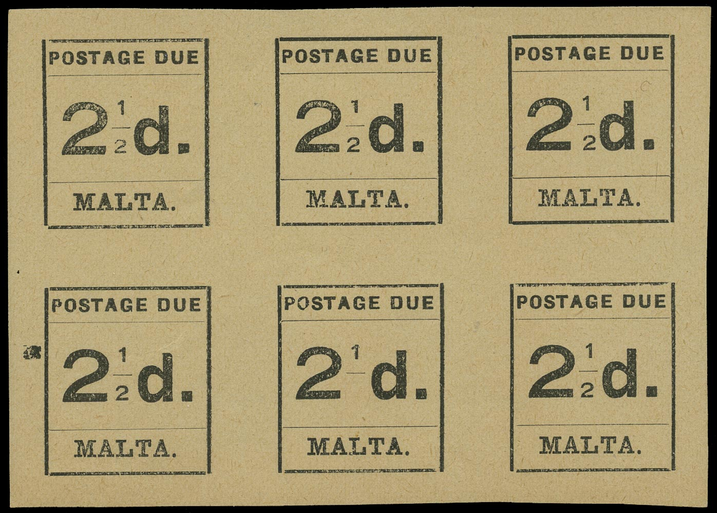 MALTA 1925  SGD5a Postage Due 2½d black error '2' of '½' omitted