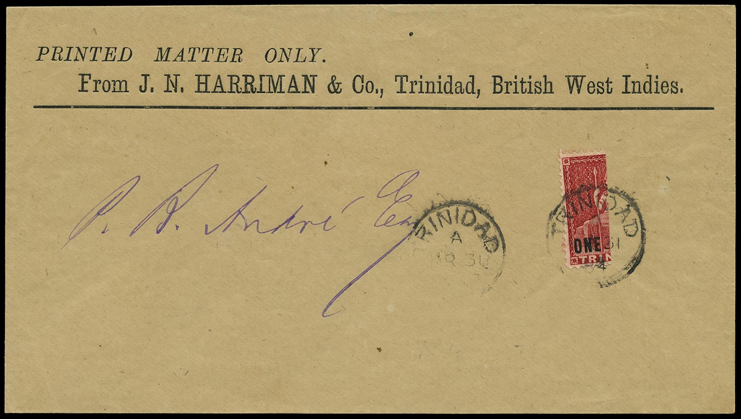 TRINIDAD 1882  SG101a Cover with 1d rosy carmine vertical bisect