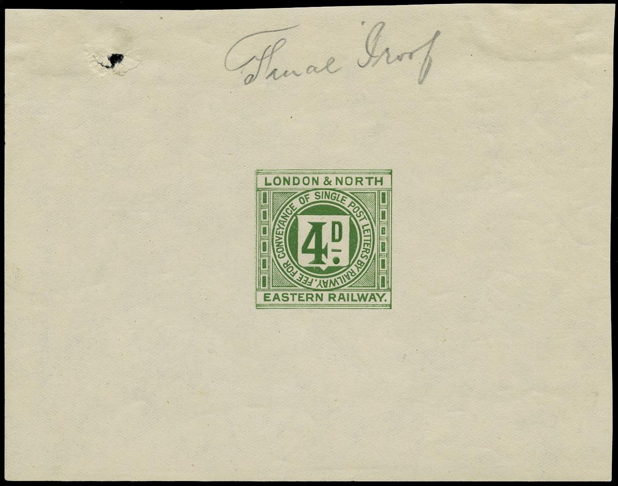 GB 1924 Railway - 4d Railway letter stamp proof