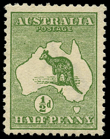 AUSTRALIA 1913  SG1bw Mint ½d green Kangaroo and Map variety watermark inverted
