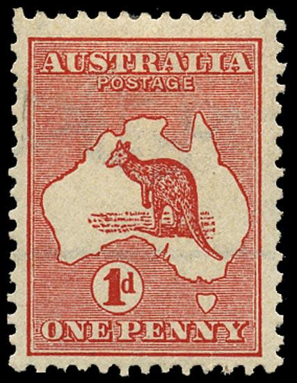 AUSTRALIA 1913  SG2a Mint 1d red die I Kangaroo and Map variety watermark sideways