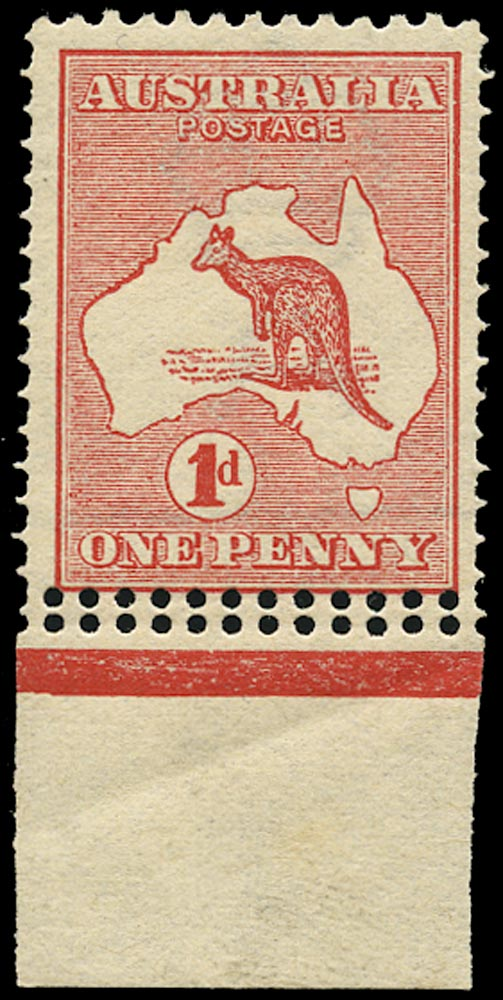 AUSTRALIA 1913  SG2 var Mint unmounted 1d red die I Kangaroo and Map variety Double perforations