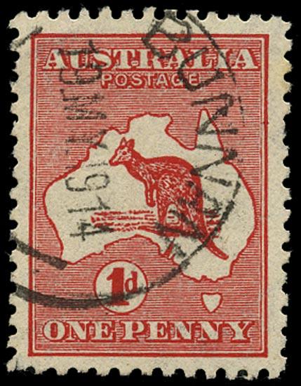AUSTRALIA 1913  SG2aw Used 1d red die I Kangaroo and Map variety Watermark sideways inverted