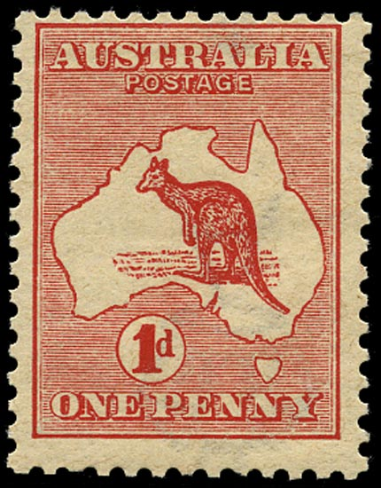 AUSTRALIA 1913  SG2cw Mint unmounted 1d red die I Kangaroo and Map variety watermark inverted